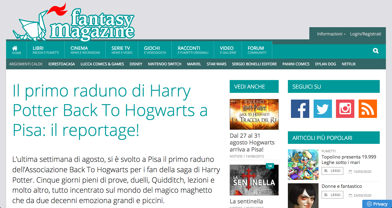 Il primo raduno di Harry Potter Back to Hogwarts - Il reportage