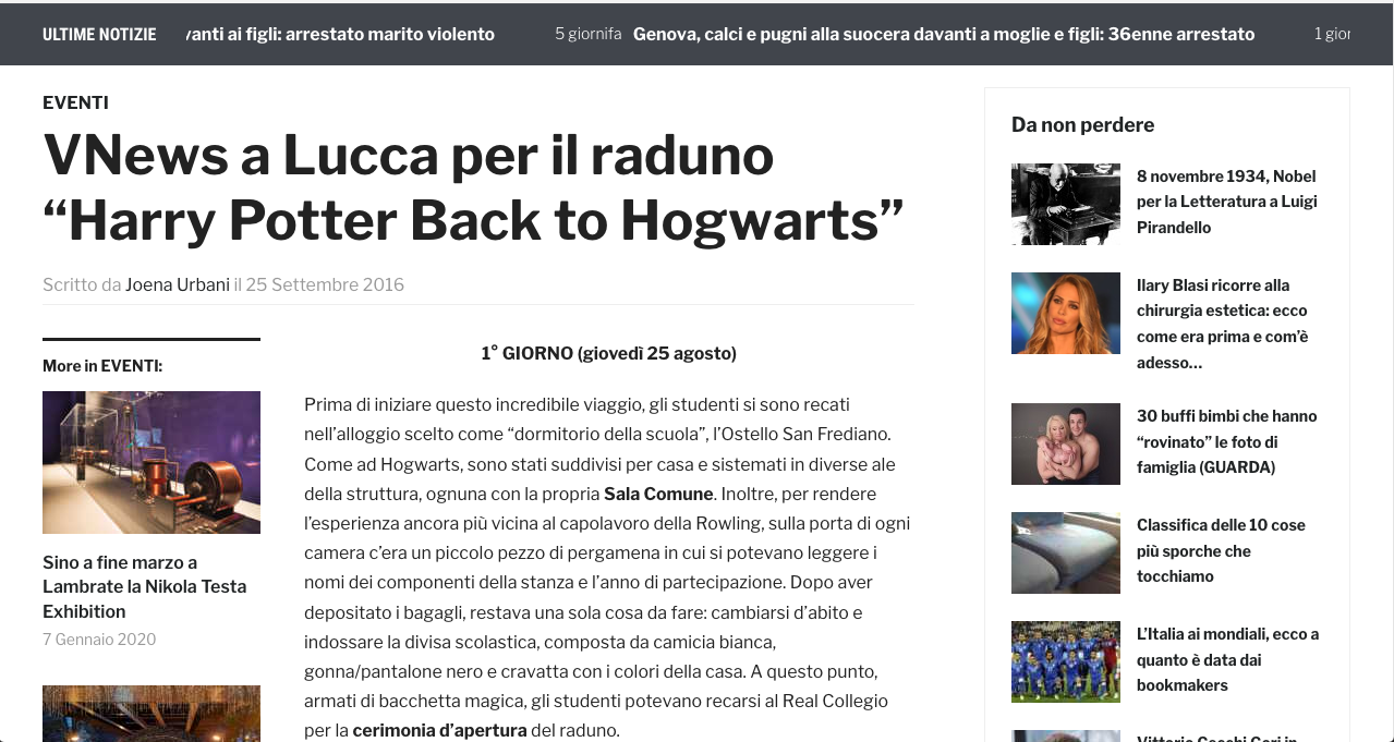 "VNews a Lucca per il raduno ""Harry Potter Back to Hogwarts"""
